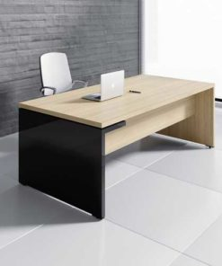 Gray and black regular office desk